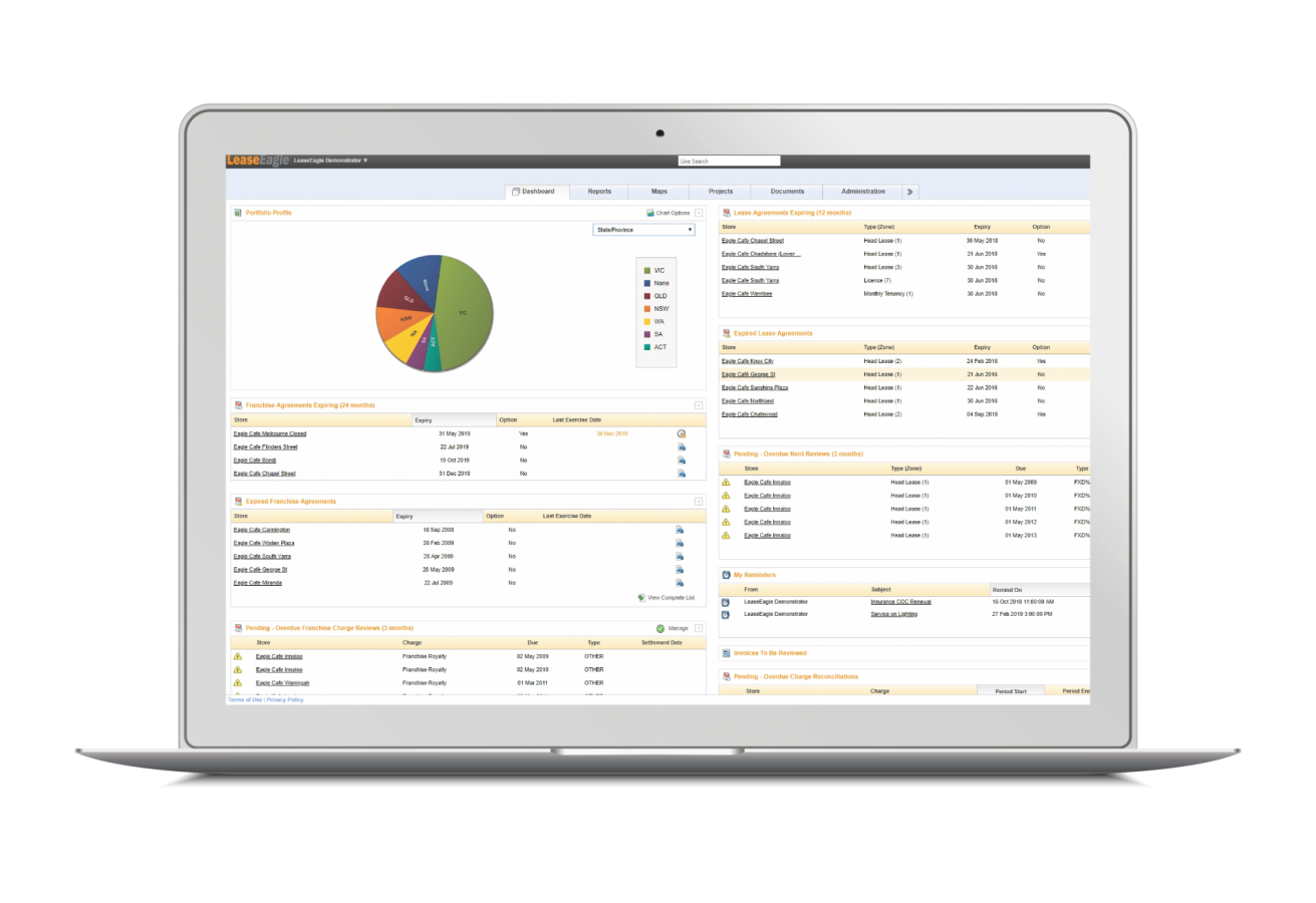 Lease Management software dashboard screen example